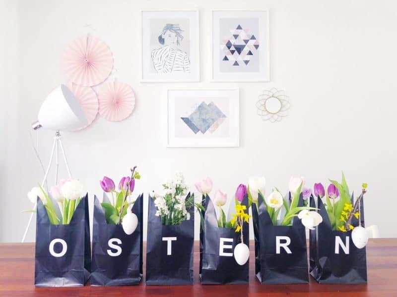 Basteln zu Ostern: Tischdeko mit Papiertüten